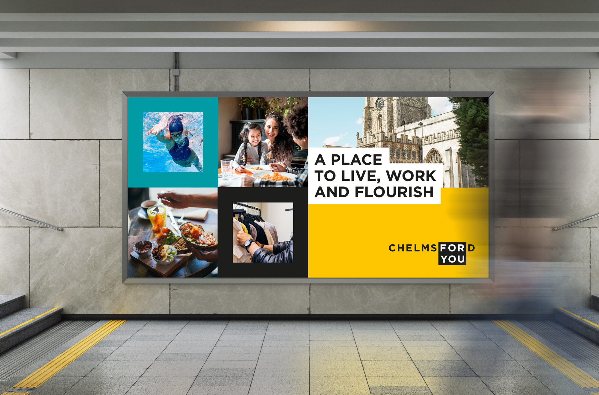 Chelmsford for you branding We Are Fred train station graphic