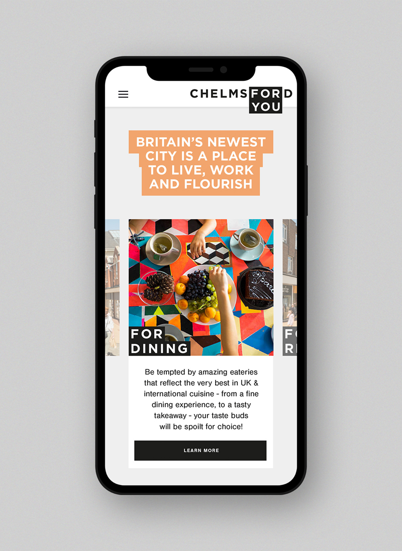 Chelmsford for you branding We Are Fred iphone mockup