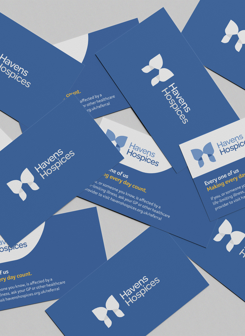 Havens Hospices brand charity business card mockup