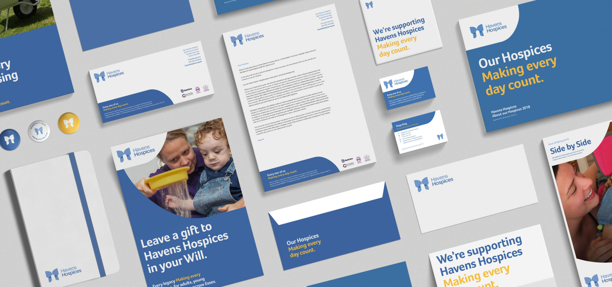 Havens Hospices brand charity marketing collateral