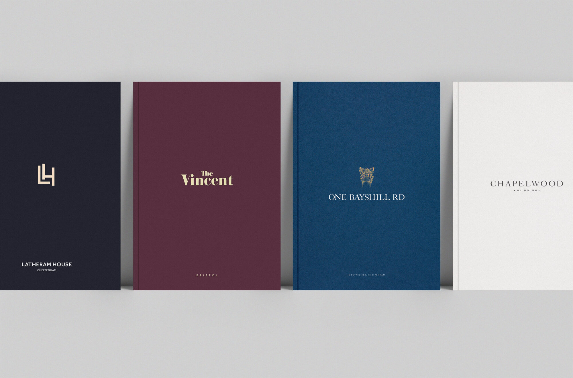 Lifestory brochure covers latheram house, the vincent, one bayshill
