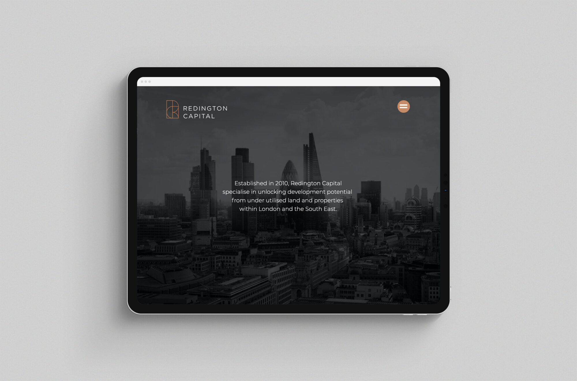 Redington Capital website ipad view