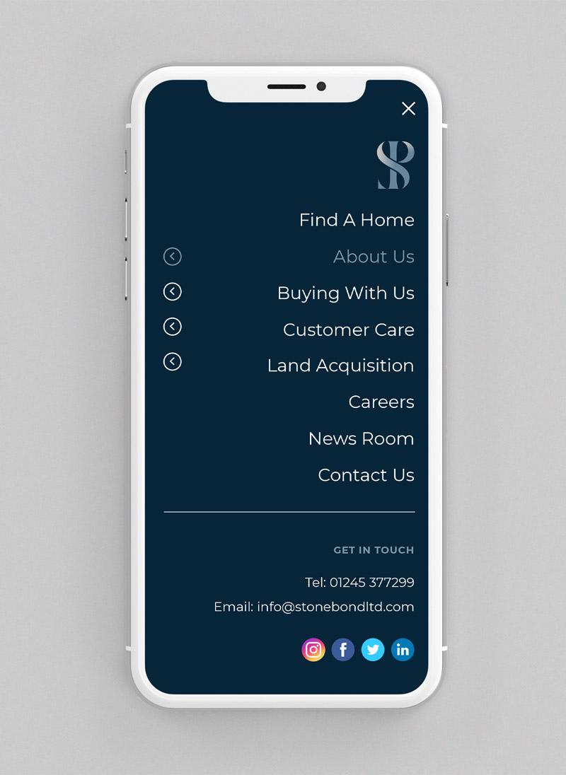 Stonebond Properties website phone mockup