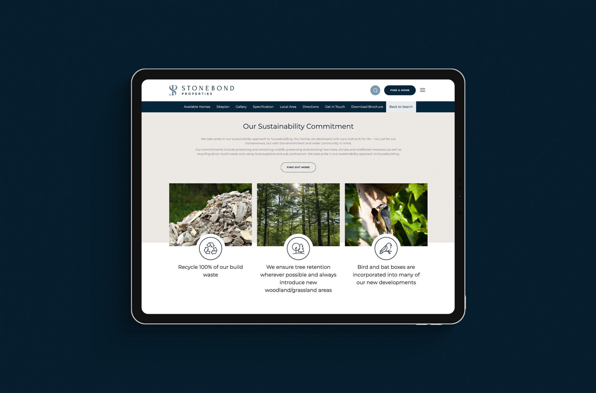 Stonebond Properties website mockup